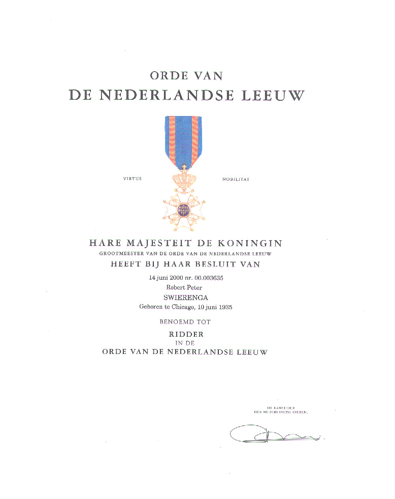 Order of the Netherlands Lion certificate photo